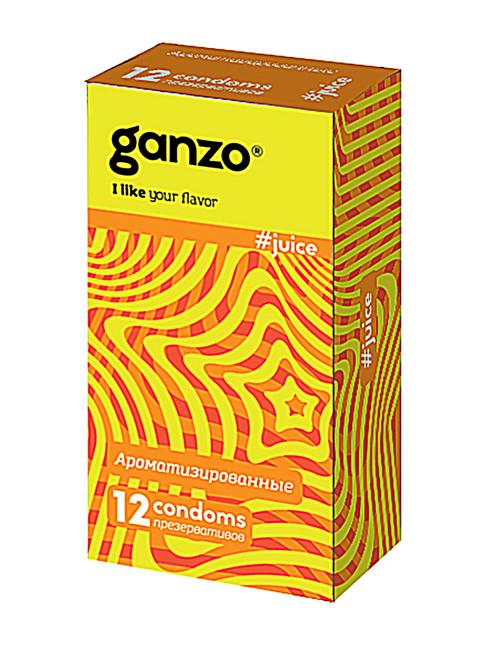 Презервативы GANZO JUICE No12 Ароматизированные (клубника, банан, и тутти фрутти), 12 шт.