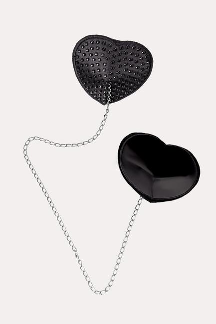 Пэстис Erolanta Lingerie Collection в форме сердец со стразами и цепочкой, черные фото 1