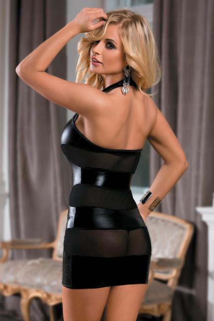 Платье c wetlook-эффектом черное XL (48) фото 1